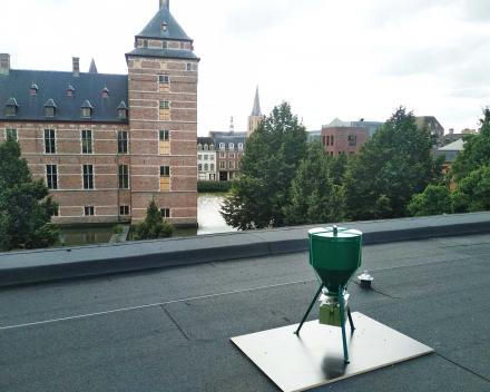Maïsdispenser op het dak van de bibliotheek
